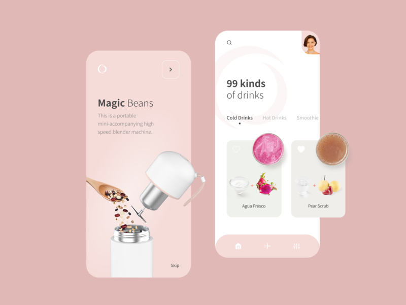 Blender Machine App - Part 2 coffee drinks smoothie machine recipes blender beans mobile ui mobile app design app design android app ios app