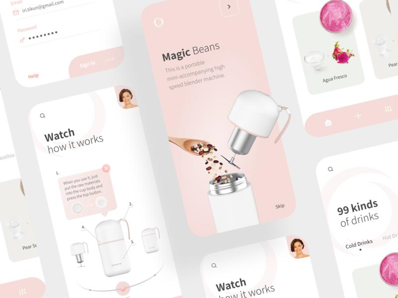 Blender Machine App Concept login screen pink ecommerce blender mobile design mobile app coffee