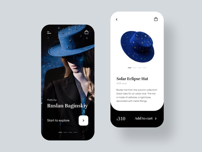 Fashion Hats Mobile App minimalist mobile app design mobile app fantasy store ecommerce app ecommerce hats fashion