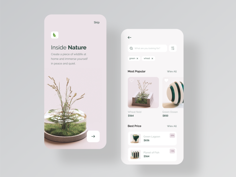Inside Nature Mobile App clean app design minimal mobile app android app design ios app fish flower flowers ecommerce app green nature inside