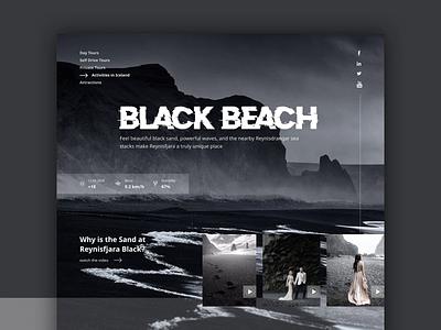 Black Beach Iceland Website animations animation design ocean blackandwhite creative black and white animation sea homepage design travel website travel iceland black beach