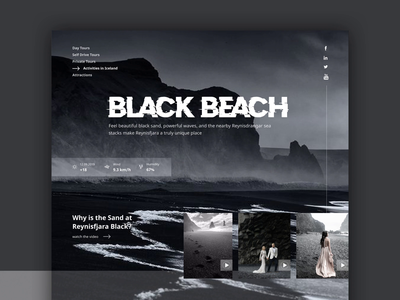 Black Beach Iceland Website animations animation design ocean blackandwhite creative black and white animation sea homepage design travel website travel iceland black beach