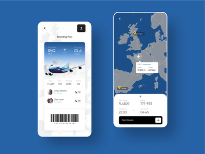 Fly Control Mobile App ticket minimal app design ux ui clean ios app blue fly mobile design mobile app boarding pass airport airline plane flyer