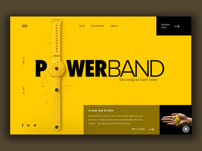 Powerband Promo Website creative clean minimal water swimmers ecommerce webdesign yellow swimmer swimming promotion promo powerdand