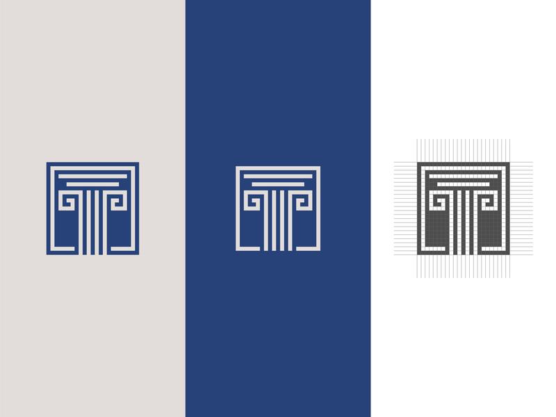 Pillar Logo column pillar grid design grid logo grid abstract flat minimal logo vector design
