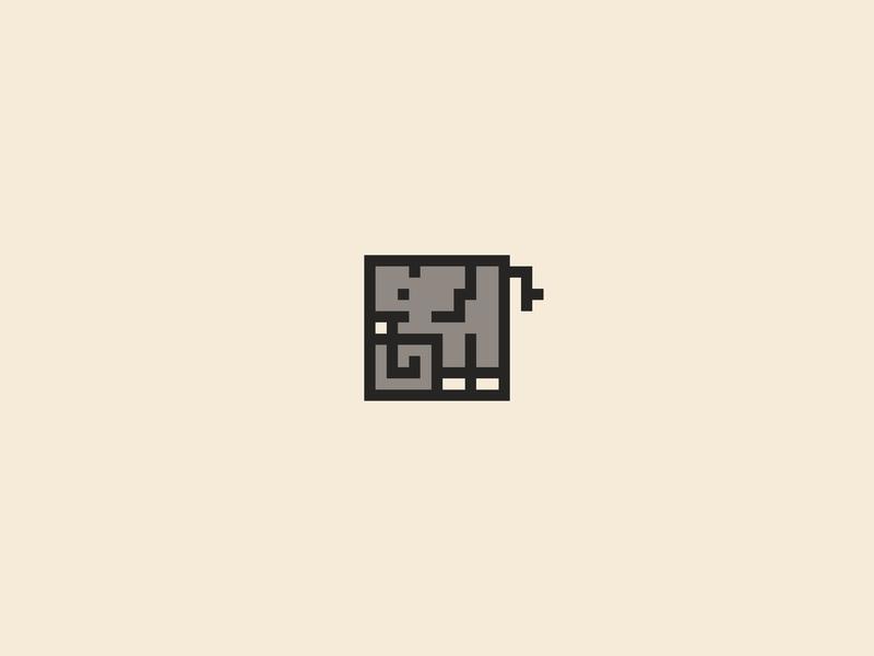 Elephant elephant square grid abstract animal logo flat minimal logo vector design
