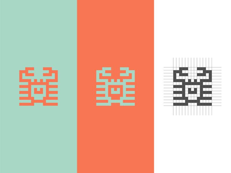 Crab crab geometic square grid abstract animal logo flat minimal logo vector design