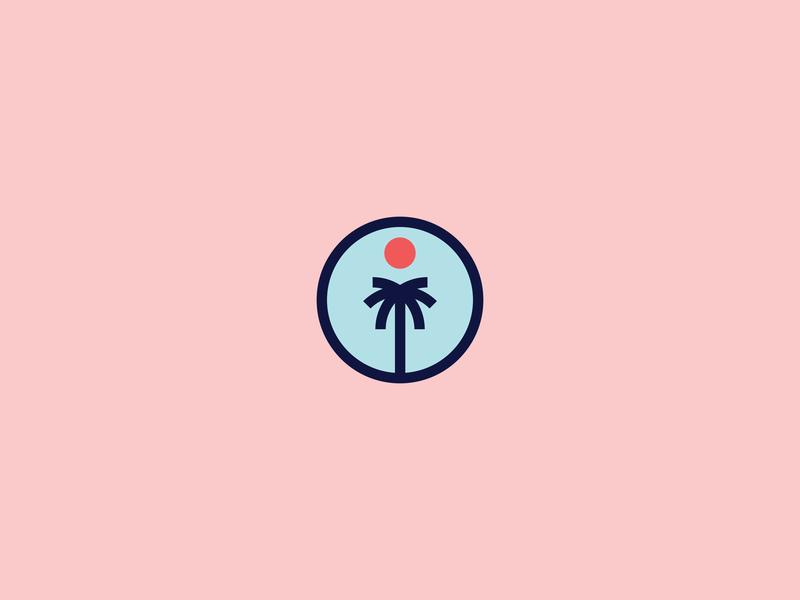 Palm Tree Logo simple logo tropical sun palmtree geometric flat minimal logo vector design