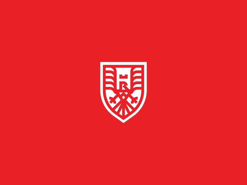 Royal Eagle Crest bird logo crown crest shield eagle abstract minimal flat animal logo logo vector design