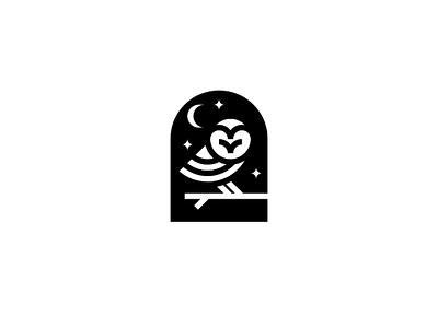 Owl Logo night stars moon abstract bird animal owl geometric simple minimal design logo