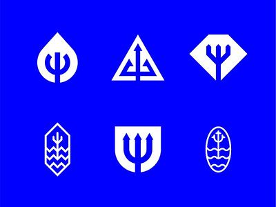 Trident Logomark Exploration sea ocean water neptune poseidon trident geometric abstract simple minimalist exploration logomark logo vector design