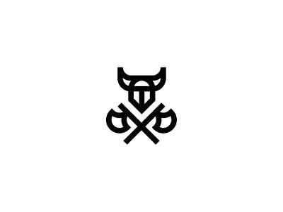 Viking simple horns helmet axe viking minimalist abstract vector logo design