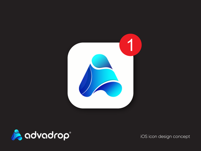 Advadrop-  Modern iOS app icon (unused) iu logo design branding logo inspiration best logo designer a letter app logo drop logo vector branding abstract logo app icon android app ios app design app logo design app logo gradient graphicbooss logo 2020 modern logo best logo