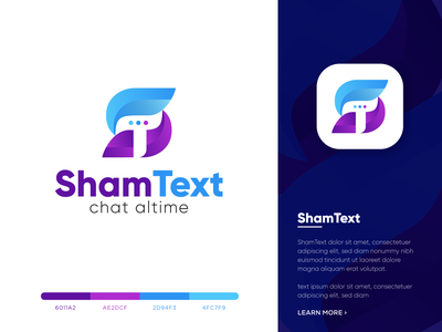 shamtext-logo design | modern chat app icon (unused) creative logo massage logo talk logo agency brand identity chat bubble chatbox chat app st letter logo t letter logo s letter logo best logo designer chat logo gradient app logo best logo design graphicbooss branding modern logo best logo