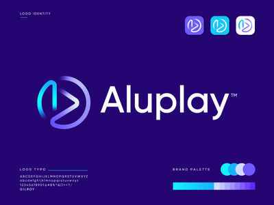 A + P for Aluplay | modern logo design wordmark tech logo technology production house song multimedia abastact music player music logo video player player logo best logo design graphicbooss minimal logo app logo design gradient best logo designer branding modern logo