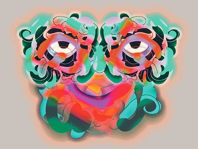 Abstract face digital photoshop face abstract illustration