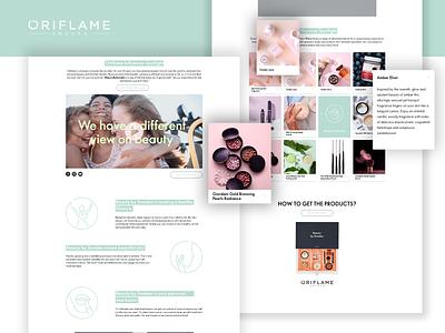 Oriflame Influencer Landing Page landing page design landing page webdesign ui cosmetics website design oriflame