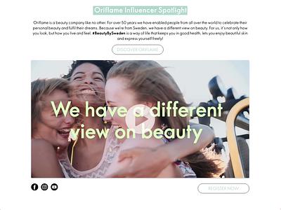 Oriflame Influencers Landing Page cosmetics ui webdesign website design landing page uidesign oriflame
