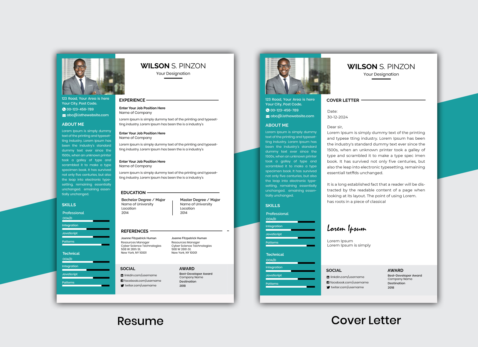 Resume Cv Template With Cover Letter By M M Rahman Sumon On Dribbble