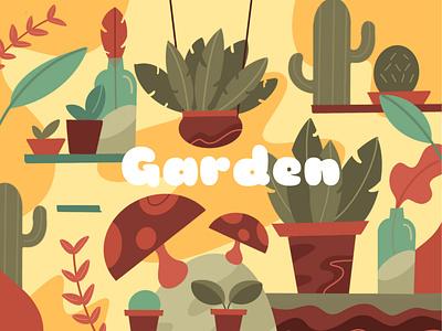 Garden cactus gardening plants illustration garden