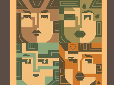 Geometric Faces colors illustration illustrations geometric faces