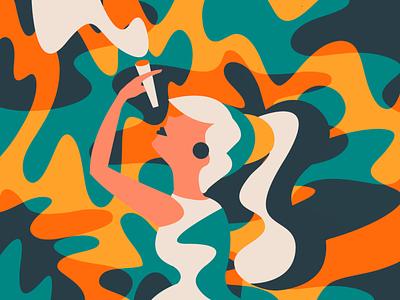 Smoke abstract colorful colors illustration woman smoking smoke