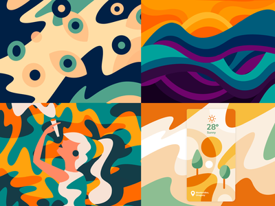 Top 4 2020 colors abstract illustrations 2020