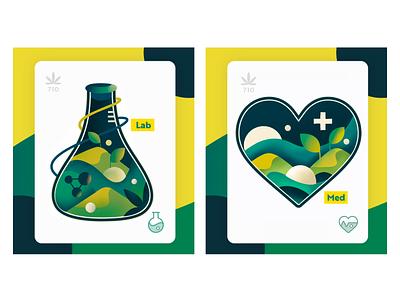 Illustration Set -  710 Lab / 710 Med nature science heart laboratory gradient color illustration