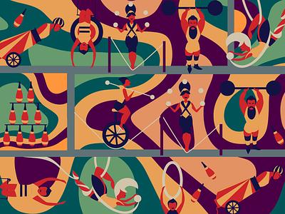 Circus coloful malabarist circus illustration