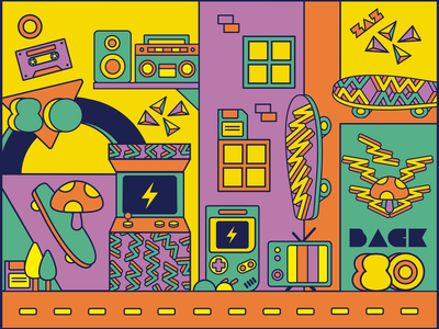 Back To The 80´s colorful illustration 80s style 80s