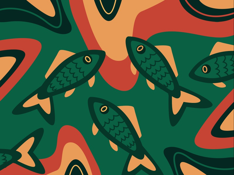 Abstract Underwater colorful illustration fish underwater abstract