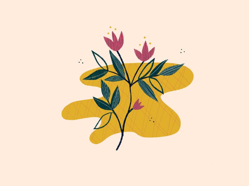 illustration // ipad illustrator summer leaves plant flowers illustration design