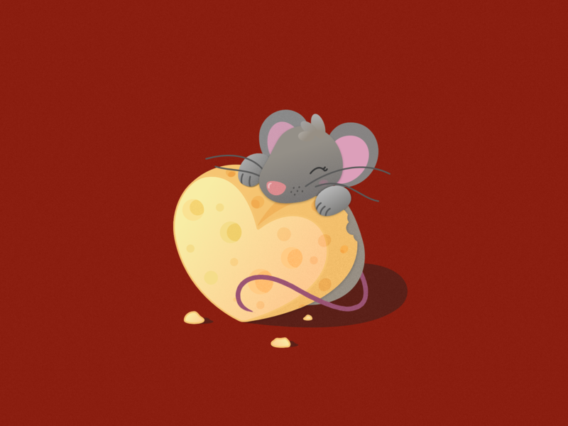 V-Day Mouse year of the rat valentines mouse cheese love 2d affinity designer illustration cute vector dribbleweeklywarmup