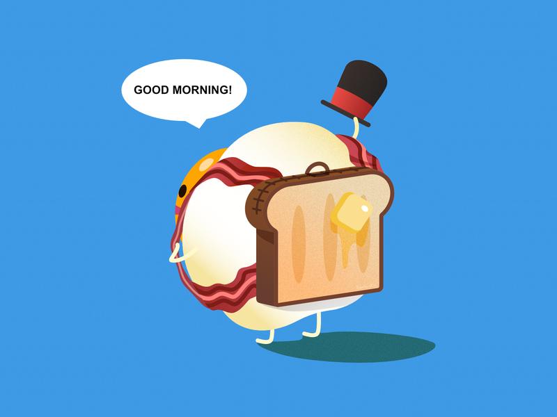 Good Morning - Breakfast Egg cartoon food character 2d affinity designer illustration cute vector inktober2019 inktober