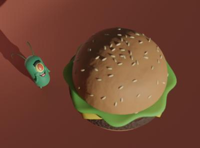 Happy Plankton burger cartoon 3d blender3d blender krabby patty plankton spongebob squarepants spongebob