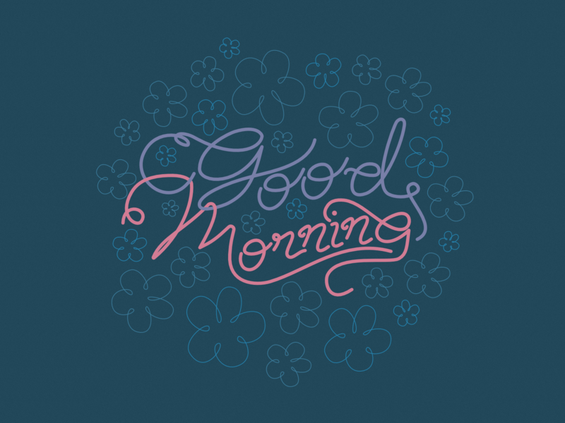 Good Morning flowers good morning text typography 2d affinity designer illustration cute vector