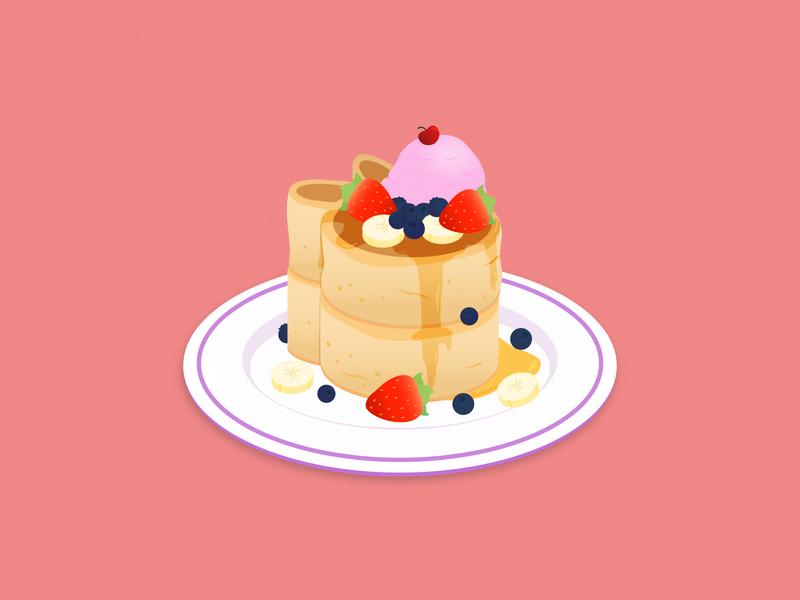 Japanese Bunny Pancakes 2d maple syrup fruits ice cream design art souffle pancake japanese pancake pancakes dessert food cute affinity designer illustration vector
