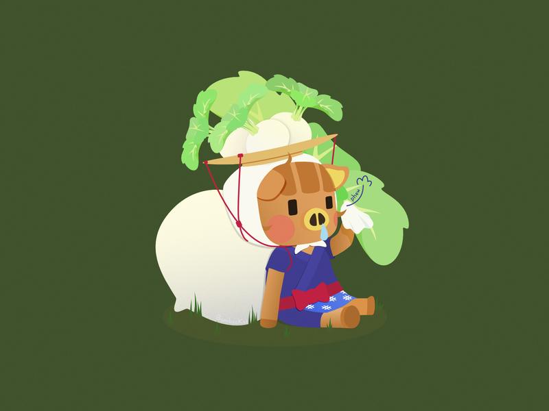 Daisy Mae pig character digital art animal crossing daisy mae turnip acnh fan art affinity designer illustration cute vector