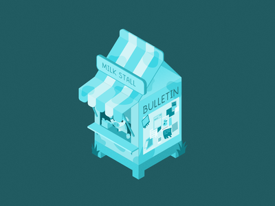 Isometric Milk Stall isometric art redbubble teepublic cute affinity designer vector cow blue monochromatic milk carton milk illustration isometric