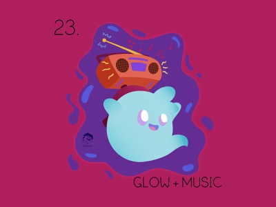 Glow Music weeklywarmup original character jamming ghost music radio 2d affinity designer character illustration cute vector