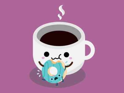 Coffee Eating Donut