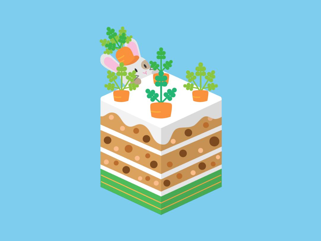 Carrot Cake rabbit cute dessert isometric winter hidden hare cake illustration vector