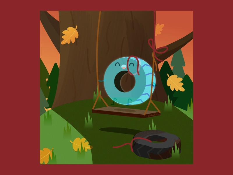 Tire Swing Ghost happy affinity ghost autumn pun 2d tire swing affinity designer children character illustration cute vector
