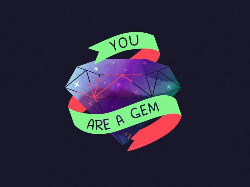 You Are A Gem gem stars diamond self care motivation space 2d affinity designer cute illustration vector