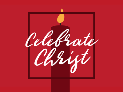 Celebrate Christ script red candlelight candle christmas