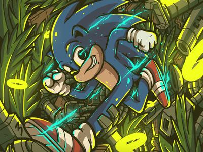 Sonic Hedgedog Doodle Illustration