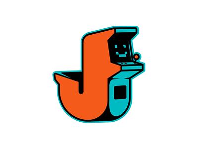 Joy pixel game control joystick type logo j letter j arcade