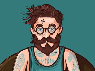 Hipster Potter vector magic rowling jk illustration hipster harry potter fan art drawing character design