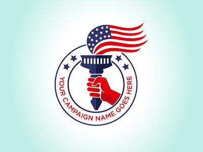 USA flag on Torch branding vector logo illustration design