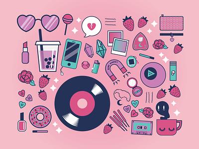 Girly Gear hearts iphone record magic ball 8 boba goth pastel icons bag girl